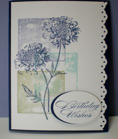 This card uses a technique called blocking.  Field Flowers stamp set from Stampin' Up! used.  Subtle...I like it!