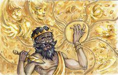 Midász királyt, aki arannyá változtatott mindent, amihez hozzáért, mindenki ismeri, de nem tudjuk, hogy mikor és holt él. Halálát egy kormányzó okozta, akiről szintén keveset tudunk.2019-ben egy régész csoport Törökország középső részén, Türkmen-Karahöyükben a tumulusokat kutatta, amikor egy helyi… Ovid Metamorphoses, King Midas, Gold Pen, The Donkey, Watercolor Paintings, Princess Zelda, Artist, Artwork, Fictional Characters