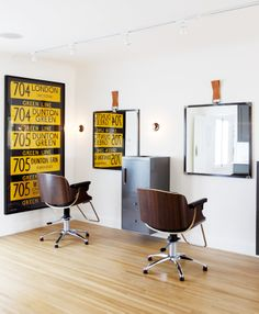 Eames Lounge Chair inspired salon chairs? Yes, please. (Photo by Laure Joliet)