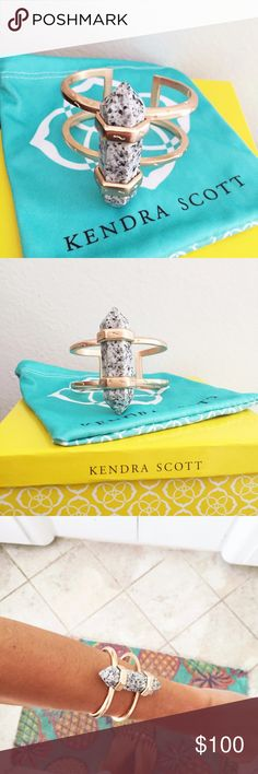 Kendra Scott bracelet! Kendra Scott cuff bracelet! This is a repop due to the fact I never wear it and it's just too damn gorgeous to be sitting around. Retails for $150. All info on last photo. #kendrascott #bracelet #jewelry #rosegold Kendra Scott Jewelry Bracelets
