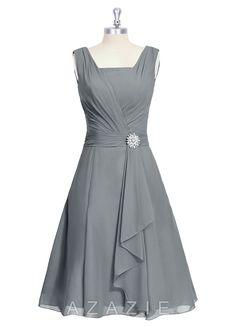 Azazie Samantha Bridesmaid Dress   $109   Fabric: Chiffon   Color: Steel gray   Swatch: Ordered