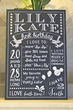 All about me - first birthday facts board.