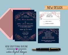 Printable Invitations, Invites, Grammar And Punctuation, Navy Blue Background, Online Print Shop, Wedding Invitation Suite, Collage Sheet, Accent Colors, Floral Wedding
