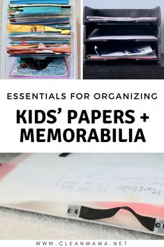 Practical ideas for how to organize all those special papers and memorabilia. When School Starts, Going Back To School, Paper Organization, School Organization, Household Organization, Clean Mama, Kids Artwork, Three Kids, Inevitable