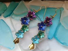 Flower Jewelry  Flower Earrings  Purple Blue by RenesJewelryArt. See MORE eye catching jewelry at my Etsy site! Click the pic for more info!