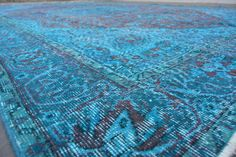 96 x65 VINTAGE TURQUOISE RUG Turkish Turquoise Area by mpwrugs