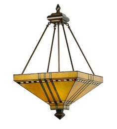 """Meyda 50621 17""""Sq Prairie Tiffany Style Stained Glass Inverted Pendant in Home, Furniture & DIY, Lighting, Ceiling Lights & Chandeliers   eBay"""