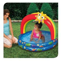 For ages 18m+. Cute ocean-themed graphics. Perfect size for toddlers and preschoolers. Canopy provides protection from the sun. Banzai has the BEST SUMMER Backyard Toys for you to play and get SOAKED! #FunYourself!