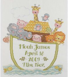Noah's Ark Birth Record - Cross Stitch Kit