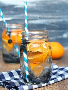 Blueberry Orange Water   12 Fruit Infused Water Recipes To Keep You Glowing   How To Lose Weight And Get Healthy - Easy Detox Recipes To Get You Back On Track by Homemade Recipes at  http://homemaderecipes.com/healthy/12-fruit-infused-water-recipes/