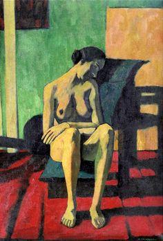 Felice Casorati (1883 – 1963, Italian) Donna seduta (con il capo reclino).bmp