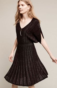 NWT Anthropologie Knitted Knotted black silver Metallic Pleated Sweater Dress S #KnittedKnotted #SweaterDress #sweaterdress