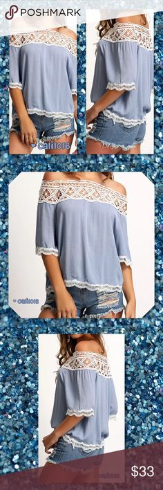 """JUST INDenim Blue Off Shoulder Lace Trim Top New boho off shoulder top two color choices Material: Flax and Lace Color:Blue, Black Style: Fashion Off Shoulder Top Tag Size: Large (Fits US Medium), Xlarge (Fits US Large)  Approx measurements for Large:  Bust: 37"""" Length: 22"""" Sleeve: 11""""  Approx measurements for the XLarge:  Bust: 38.6"""" Length: 22.4"""" Sleeve: 11.4""""  MUST SEE SIZE INFO FOR FIT Glam Squad 2 You Tops"""