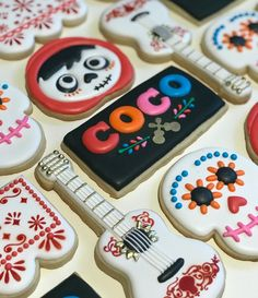 Disney Coco day of the dead Decorated Cookies #coco #decorated #royalicing #disney #decoratedcookies #customcookies #dayofthedead #guitarcookies