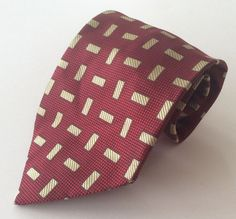Fratelli Moda Neck Tie Red Yellow Geometric MADE IN ITALY 100% Silk #FratelliModa #NeckTie