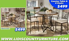 TABLE + 4 CHAIRS or COUNTER HEIGHT TABLE + 4 CHAIRS ONLY $499 ‪#‎longislanddiscountfurniture‬ ‪#‎furniture‬ ‪#‎diningtable‬ ‪#‎diningroom‬ ‪#‎discount‬ ‪#‎countertable‬ www.longislanddiscountfurniture.com