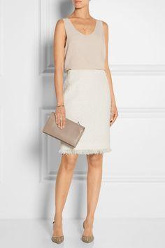 Oscar de la Renta|Cotton-blend tweed pencil skirt | Styled with a Chloe blouse and René Caovilla point-toe pumps.|NET-A-PORTER.COM