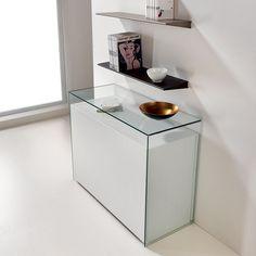 Tavolo+trasformabile+Proteo+in+acciaio+e+legno+con+consolle+in+vetro