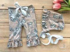 Newborn Girl Prop Outfit - Rose Pink and Gray Floral Girl Pants & Bonnet Photo Outfit - Ready to Ship