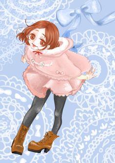お気に入りの服を着てご機嫌な少女。  デジタル/厚塗り