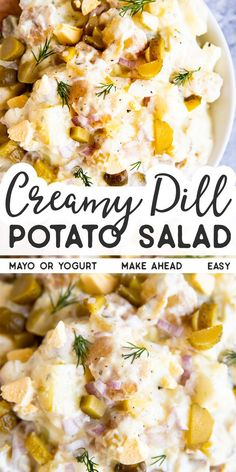Get the BEST recipe for Creamy Dill Potato Salad here! An easy side dish for summer BBQs, potlucks and holiday dinners everybody loves, this salad is a total classic! | #recipe #easyrecipes #summerrecipes #potatosalad #potatoes #potluck #cookout #bbqside #salad