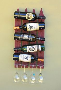 Wood Wall Wine Rack - 5 Bottle 4 Glasses Handmade Wine Rack made to resemble a picket fence.  Great for home, cabin or even an outdoor display.