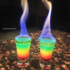 FLAMING RAINBOWS Grenadine Orange Juice Vodka Club Soda Blue Food Coloring Bacardi 151