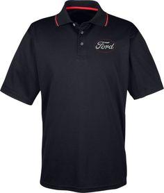 White Ford Logo Pocket Print Men/'s Tri-Blend Wicking Polo Shirt 21281EV2-PP-ST405