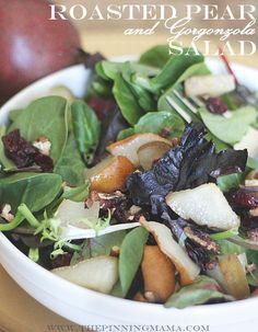 OMG. I want this SALAD!  Pear and Gorgonzola Salad recipe via The Pinning Mama #salad #recipe #healthy