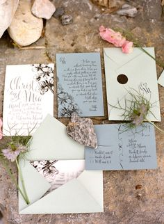 Mint and blue floral wedding invitations | Les Amis Photo | see more on: http://burnettsboards.com/2014/09/bridal-session-italian-riviera/