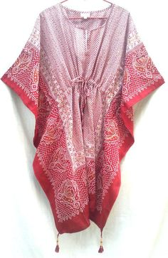 Boho Chic Anokhi Red & White Hand block print Cotton Kaftan Tunic top One size