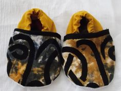 Baby Booties 12 to 18 Months Upcycled Blue and Yellow Tie Dye Tapestry Black Celtic Knot - Light Weight Fabric by BettieJune on Etsy