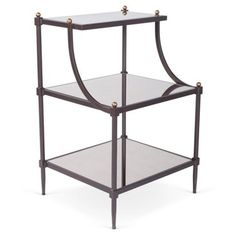Check out this item at One Kings Lane! Sage Mirror-Tiered Side Table, Bronze