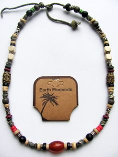 necklaces for men   Earth Elements Spiritual Beaded Necklace, Surfer Men's Beach Jewelry
