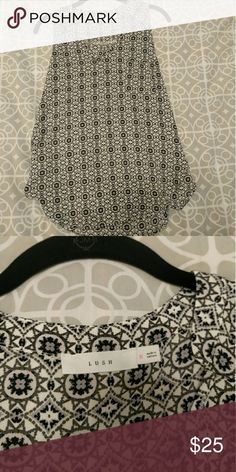 Lush tank black and white design Pretty design tank top, black and white. Great for going out and perfect to wear under a blazer for a work look. Never worn! Lush Tops Tank Tops