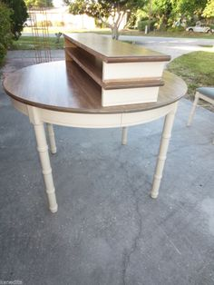 Round Dining Table Faux Bamboo Hollywood Regency Mid-Century TAN