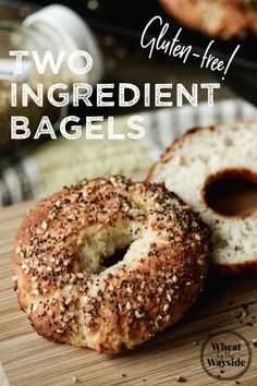 Easy, Two-Ingredient Bagels made gluten-free! Use gluten-free baking mix and greek yogurt. Best Gluten Free Recipes, Gf Recipes, Gluten Free Desserts, Bread Recipes, Gluten Free Baking Mix, Gluten Free Bagels, Vegan Bagel, Bagel Recipe, Gluten Free Breakfasts