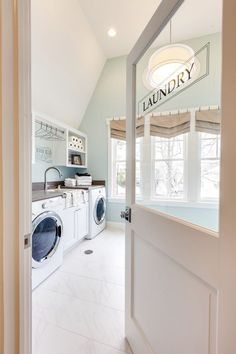 love this door on to the laundry room- House of Turquoise: 2015 Coastal Virginia Magazine Idea House Laundry Room Doors, Laundry Room Organization, Laundry Room Design, Laundry Room Curtains, Glass Door Curtains, Bathroom Laundry, Glass Doors, Organization Ideas, House Of Turquoise