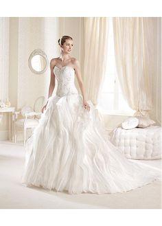 FABULOUS ORGANZA SATIN SWEETHEART NECKLINE DROPPED WAISTLINE A-LINE WEDDING DRESS SEXY LADY LACE FORMAL PROM