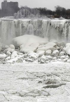 Niagara Falls is frozen 1st time in last 100 years , USA, from iryna