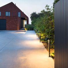 Private Residence, Wortegem (BE) Delta Light, Landscape Lighting, Outdoor Lighting, Outdoor Decor, Path Lights, Modern Landscaping, Lighting Design, Paths, Backyard