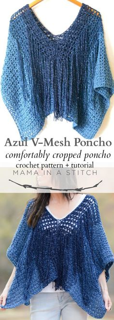 crochet blusas patterns Azul V-Mesh Easy Crochet Poncho Pattern via This free crochet pattern is so easy and is great for summer and spring! Poncho Au Crochet, Crochet Poncho Patterns, Crochet Shawls And Wraps, Crochet Scarves, Easy Crochet, Crochet Clothes, Knit Crochet, Scarf Patterns, Crochet Sweaters