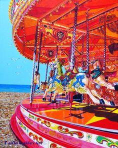 """Seaside Carousel"" (Brighton, Sussex)ORIGINAL ART by Paula Oakley"