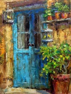 Door In France With Canaries, painting by artist Julie Ford Oliver