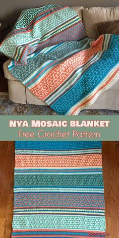 Crochet Patterns Stitches The Nya Mosaic Blanket is a novel application of basic crochet stitches. Crochet Afghans, Basic Crochet Stitches, Tunisian Crochet, Afghan Crochet Patterns, Crochet Squares, Crochet Basics, Tapestry Crochet, Stitch Patterns, Crochet Blankets