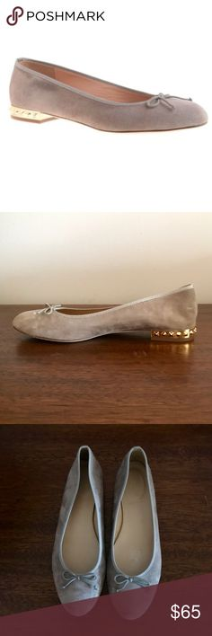 J. Crew Kiki Grey Suede Studded Ballet Flat Size 8 Inspired by flats seen on the streets of Paris, our new ballets are crafted with a higher vamp, a slightly more tapered toe and a tiny heel (for just a hint of a lift).  Suede upper. Leather lining and sole. Made in Italy. Item 05232. Size 8 EUC  Love the shoe, but not the price? Make me an offer!😊 J. Crew Shoes Flats & Loafers