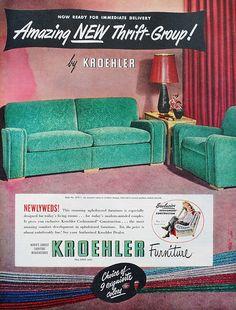 Kroehler - Bridal Suite - a gorgeous green living room set @ 1949