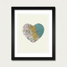 Chicago Art City Heart Map - 8x10 Art Print $18.00