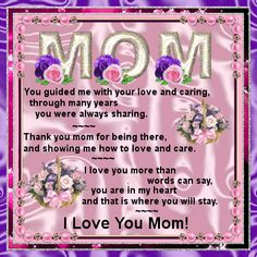 Send this heartfelt poem to your mom on Mother's Day. Free online A Heartfelt Poem For Your Mom ecards on Mothering Sunday Missing Mom Poems, Poems For Your Mom, Mother's Day In Heaven, Mother In Heaven, Mothers Day Ecards, Mothers Day Poems, I Miss My Mom, Love You Mom, Happy Birthday Mom Quotes