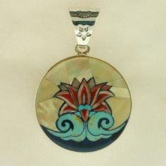 Sterling silver pendant with a 1.5 in diameter multi-Gemstone Mosaic of the Lotus Gallery Logo.